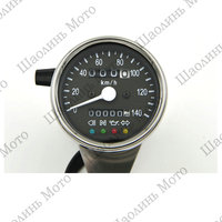CAFE RACER 60MM Stainless mechanical odometer speedometer Black Face/White LED with indicator lights 0 140KM/H free shipping