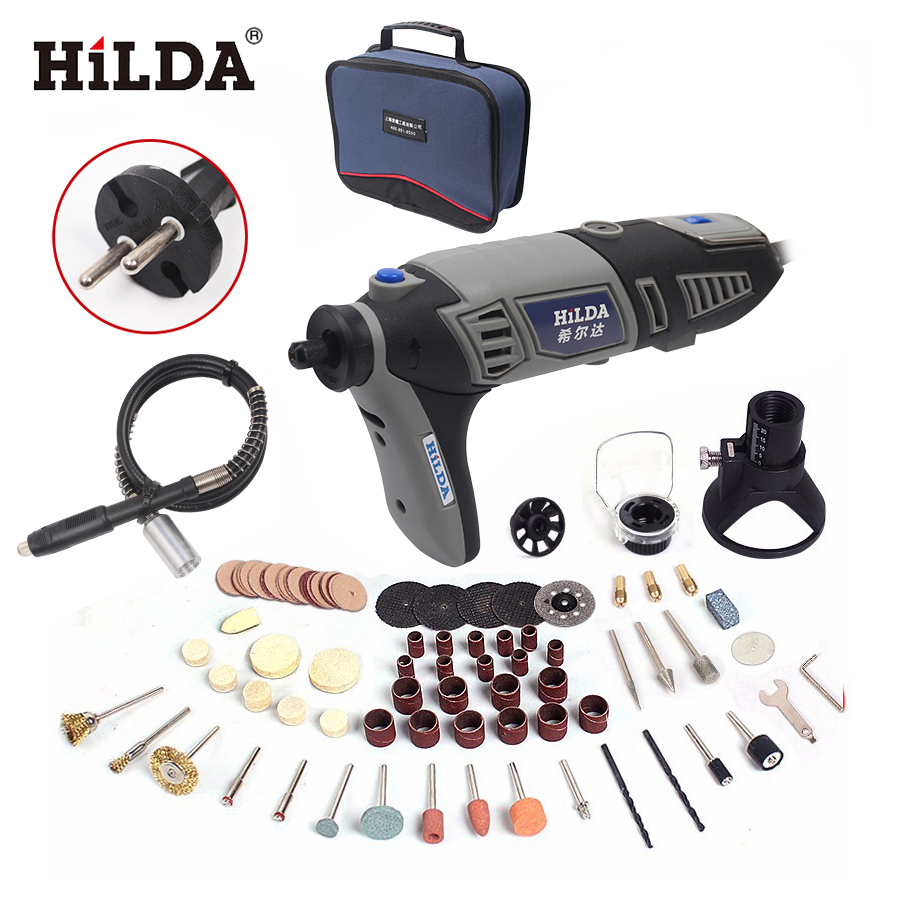 купить HILDA Electric drill Dremel style Electric Rotary Power Tool Mini Drill with Flexible Shaft 133pcs Accessories Set Storage Bag по цене 1933.85 рублей