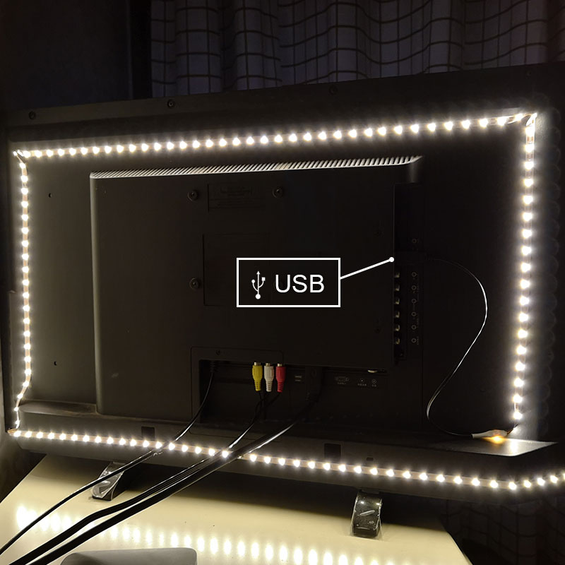 Led Strip USB DC 5V 6V No Waterproof RGB 3528 SMD Can Change Color For TV Background Lighting With Controller image