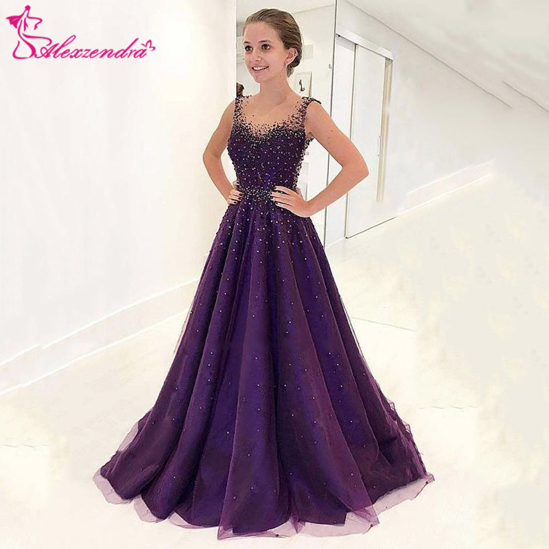 Alexzendra Purple Long Prom Dresses Plus Size Beaded Scoop Neck Long Formal Evening Dresses Party Dress