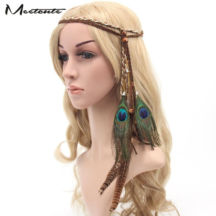 Meetcute 2017 Fashion Boho Style Peacock Feather Headbands