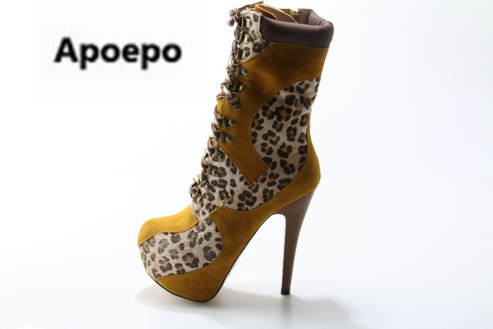Apoepo Sexy 16 cm High Heels Leopard Print Women Boots Round Toe Lace-up Platform Shoes Winter Ankle Boots Booties Mujer 2018 kemekiss winter women round toe ankle boots high heels lace up shoes double buckle platform short martin booties size 33 43