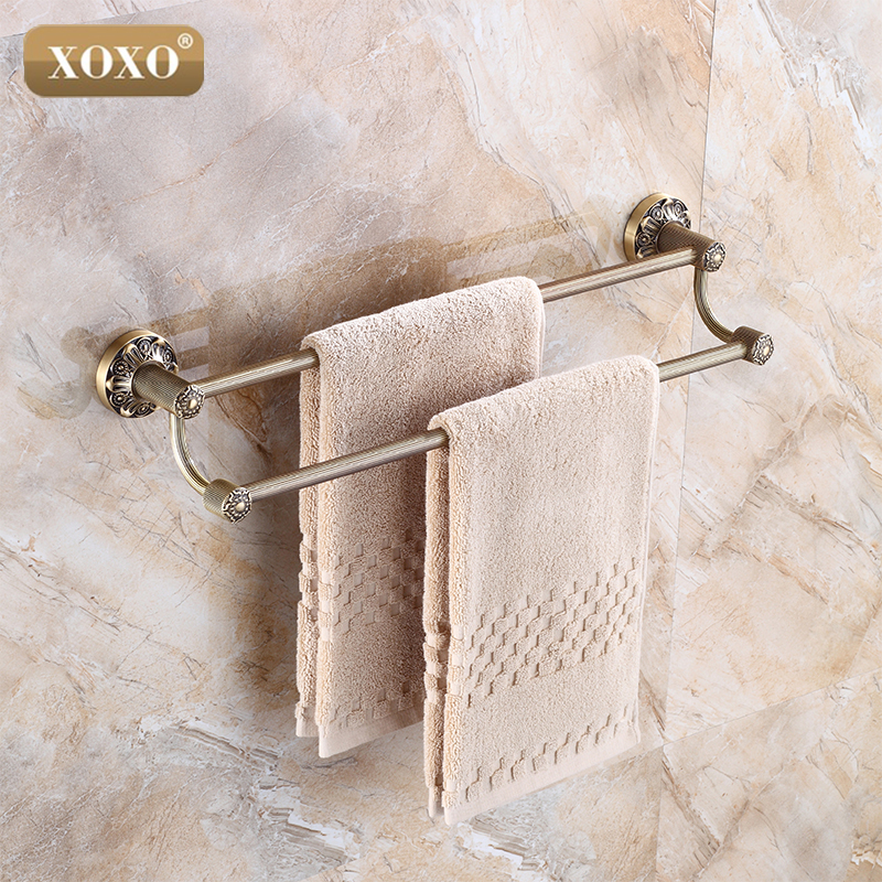 XOXO New Designed Luxury Wall Mounted Carving Classical antique Brass Bathroom Towel Rack Holder Double Towel Bar 15024DB цена