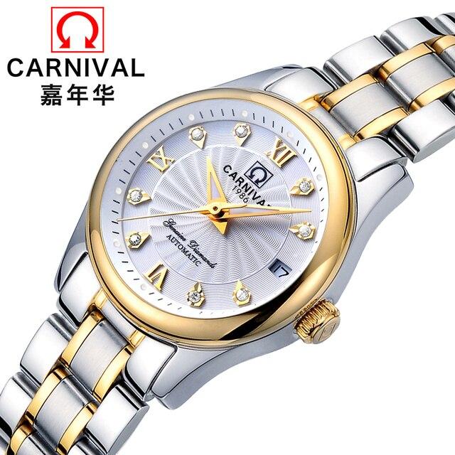 b8bcb31558d 2018 Promoção Real Genuíno Carnaval Relógios Lady Relógio Mecânico  Automático Self-vento Moda Montre Relogio