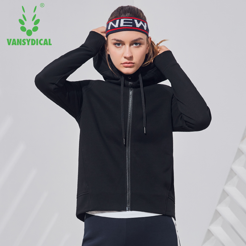 Vansydical Womens Hooded Zipper Jacket Windbreaker Sports Running Coat Yoga Jackets Womens Workout Windproof Sportswear Tops цена