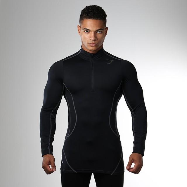 Collants homens Camisa Longa Da Luva T Camisa Tops Bodybuilding da Aptidão que funciona Compressão Camisetas