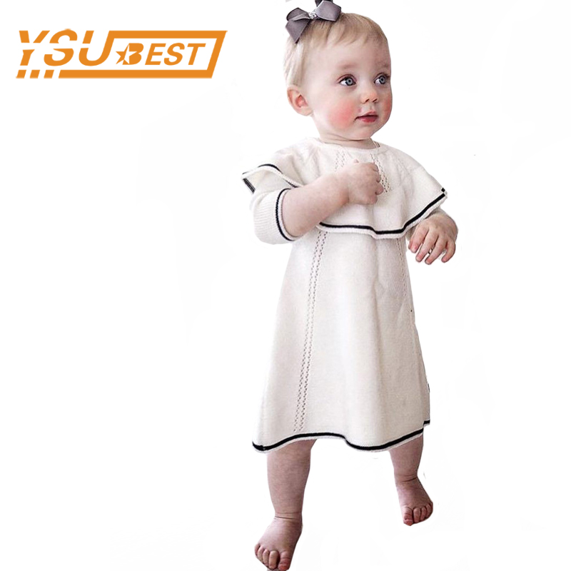 0-4yrs Baby Girls Dresses Brand Cotton Knitted Infant Dress New 2017 Baby Girls Sweater Dress Fashion Girl Clothes Kids Clothes summer baby girls dress ice cream print 100% cotton toddler girl clothing cartoon 2018 fashion kids girl clothes infant dresses