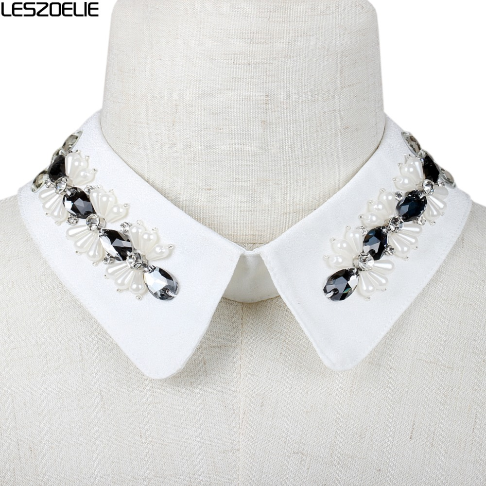 White Detachable Collar For Women 2019 Fashion Pearl Detachable Collar Lady Neckwear Party Accessories Girls Fake Collars