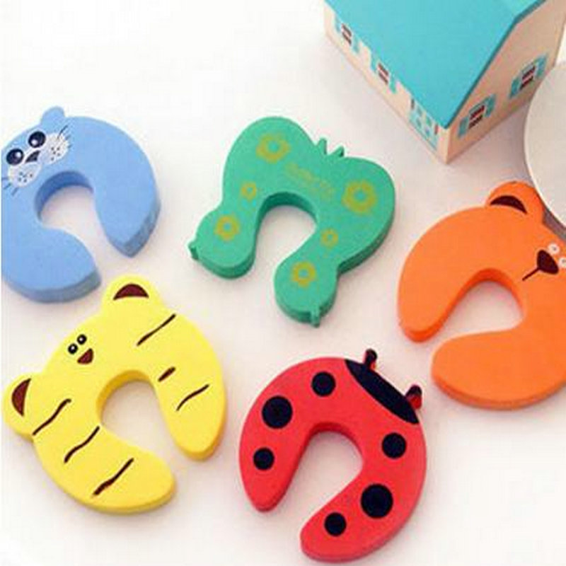 2pcs/pack Animal Cartoon Door Stopper Holder Jammer Pinch Lock Safety Guard Finger Protector For Children Kids Baby smiley face door window children safety lock band 2 pack set