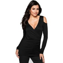 New Sexy Women Bodycon Off Shoulder T Shirt Casual Tops Long Sleeve V Neck Stretch Tee Shirts