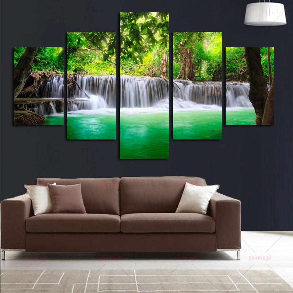 BANMU 5 Panel Air Terjun Lukisan Kanvas Gambar Seni Dinding Dekorasi - Dekorasi rumah - Foto 3