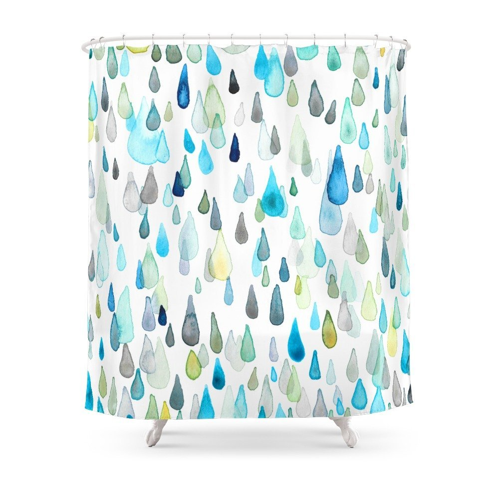 Raindrops Shower Curtain Set Bath For Bathroom With Non Slip Floor Mat