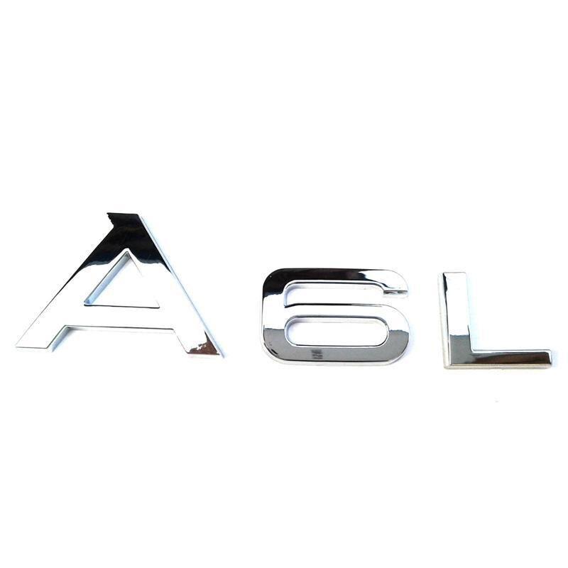 Logo 100pcs / lot plaqué chrome badge A6L arrière de voiture autocollant emblème
