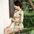 Rosemary autumn 2015 new improved cheongsam heavy silk cheongsam dress vintage double sleeve