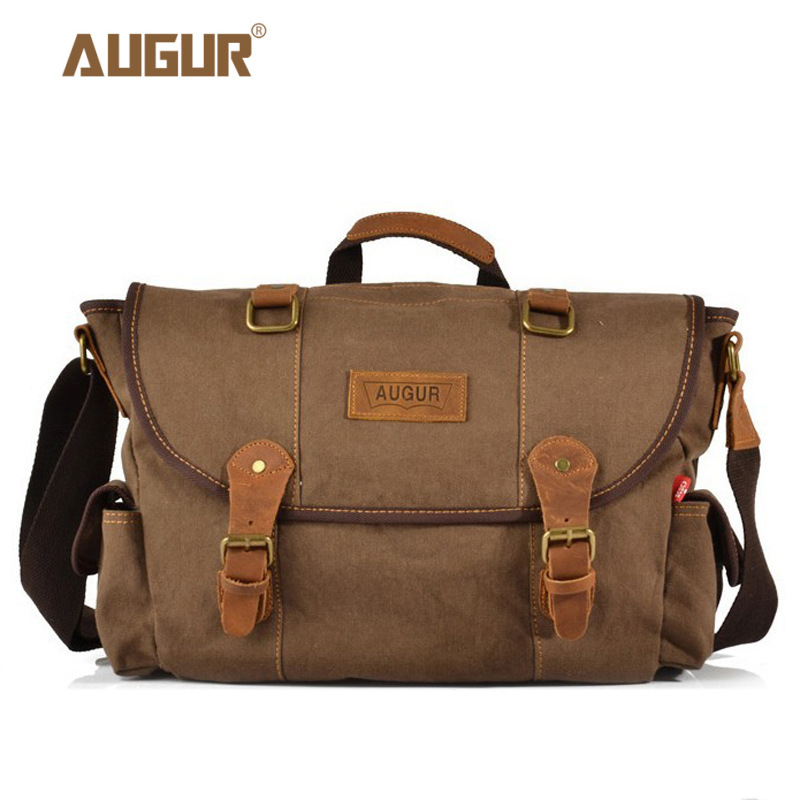 AUGUR New Men Crossbody Bag Male Vintage Canvas Military Style High Quality Messenger Bag Casual Travelling Men's Shoulder Bag augur fashion men s shoulder bag canvas leather belt vintage military male small messenger bag casual travel crossbody bags