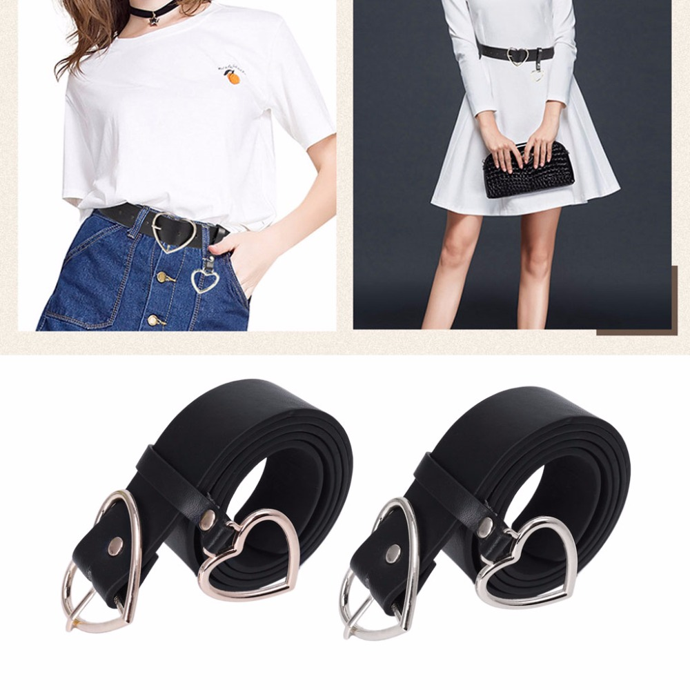PU Leather   Belt   for Women Metal Heart Corset Wedding Party Dress Harajuku   Belt
