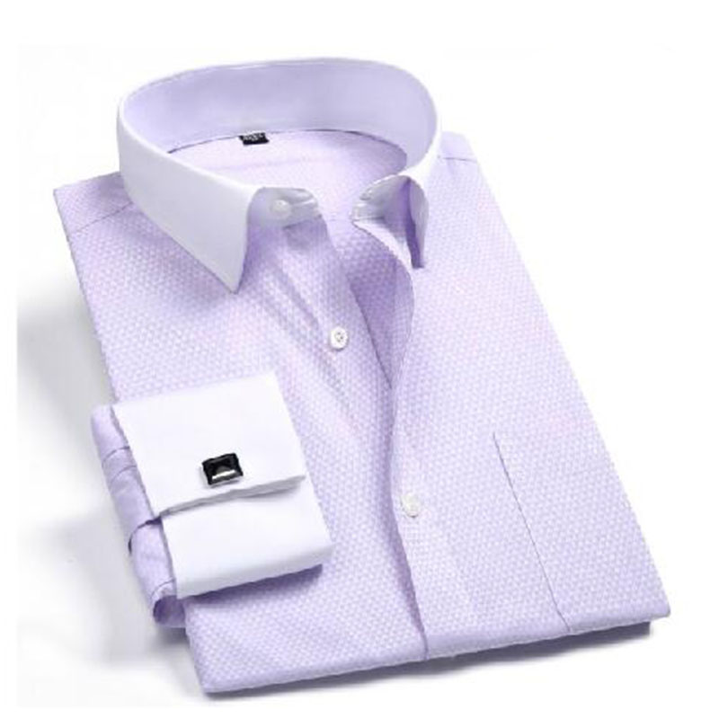 2018 New Arrival Men Long Sleeve Jacquard Printed Shirts Vestido,cotton High Quality French Cufflinks Design Shirts Camisa Modern Design