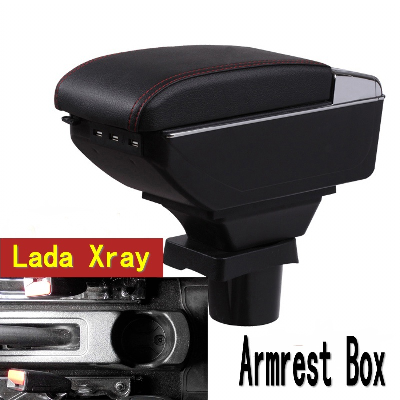 For Lada Xray armrest box central Store content Storage box Lada armrest box with cup holder ashtray USB interface for chery tiggo 2 3x 2016 2017 2018 armrest box central store content box with cup holder ashtray decoration with usb interface
