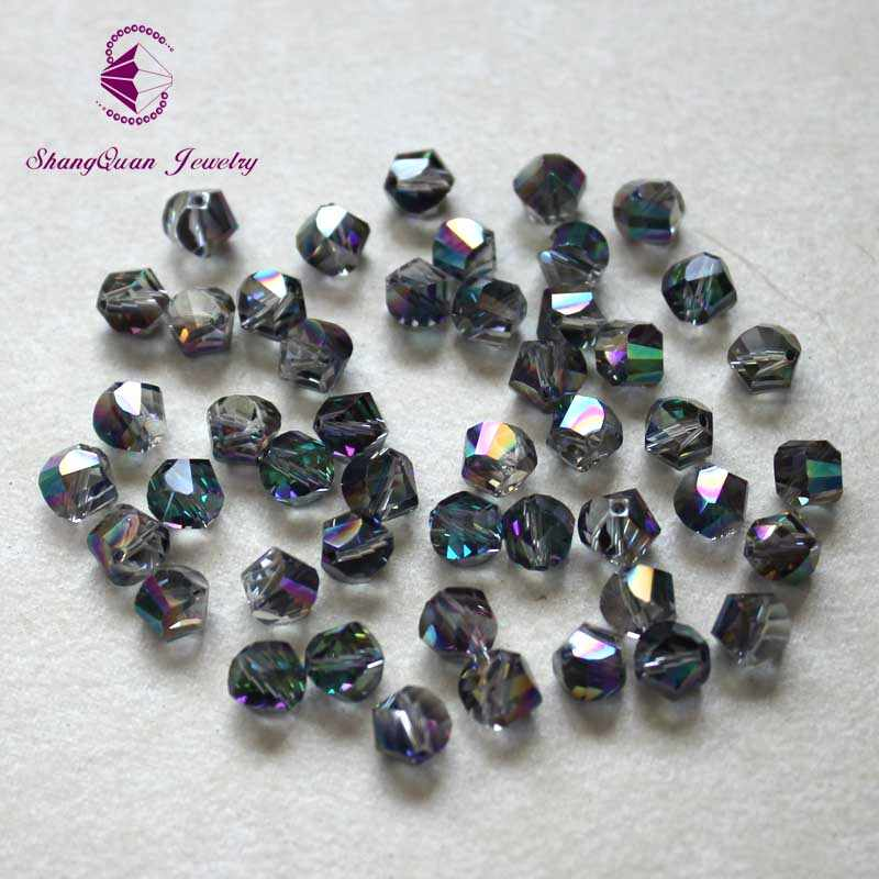 50pcs 6mm 8mm 10mm Round Mid Hole Faceted Crystal Glass Loose Beads DIY Jewelry