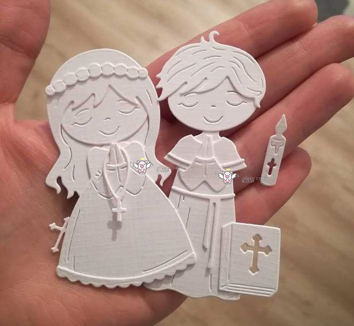 Mmao Crafts Metal Steel Cutting Dies 2019 New Praying boy girl Stencil For DIY Scrapbooking Paper/photo Cards Embossing Dies(China)