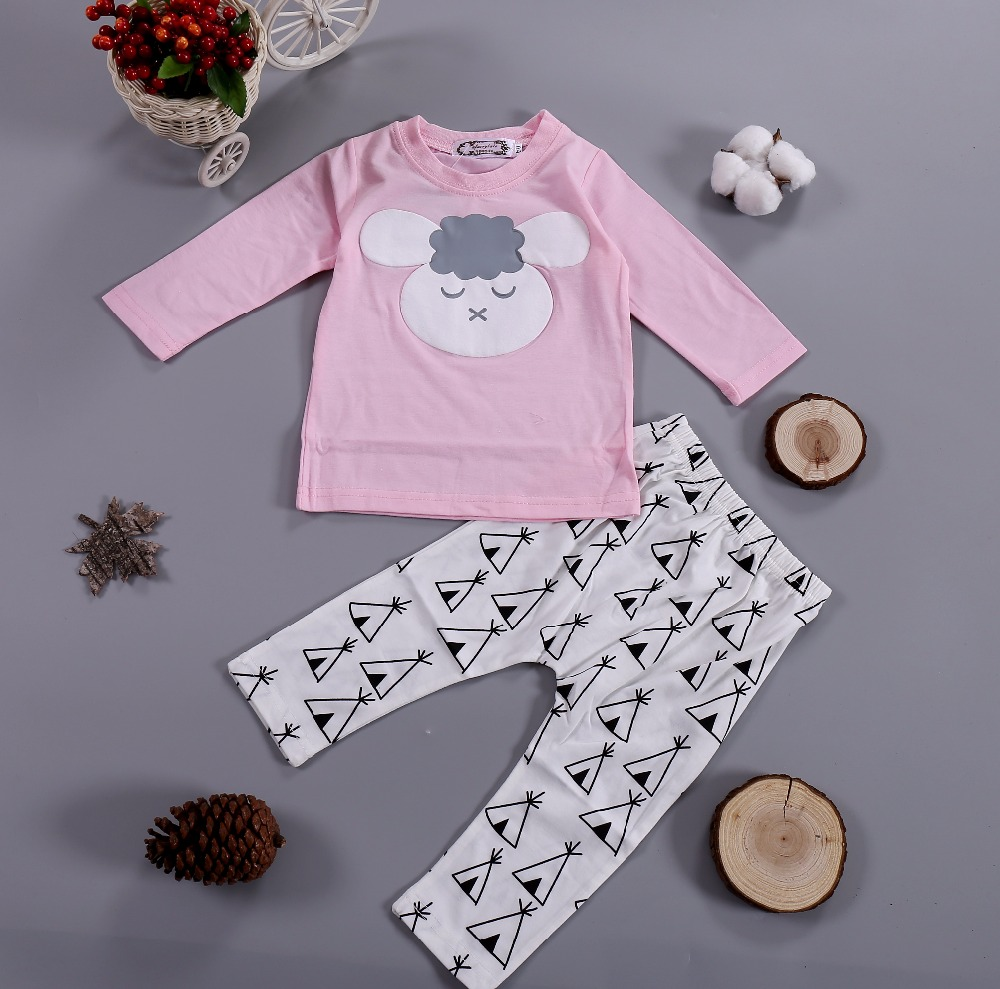 2PCS Baby Girl Clothing Set Long-sleeved Cartoon Pink Sheep Tops + Cotton Pants Infant Toddle kids Clothes Set