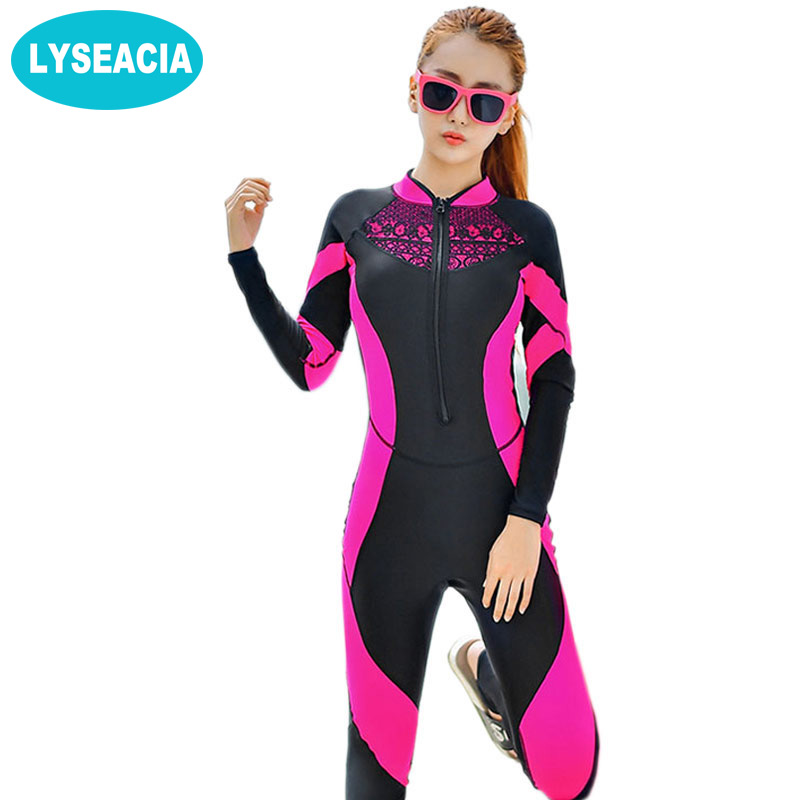 2018 Lace Wetsuit Women Zipper Swimsuit Full Body Jumpsuits Diving suit Rash Guard Wetsuits for Swimming Surfing Sports Clothing sbart professional women lycra wetsuit 2018 new diving suit swimwear full body rash guard jellyfish clothes snorkeling wetsuits