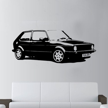 Vinyl Design Vintage Car VW Golf GTI Mk1 Classic Wall Art Decal Sticker Home Decoration Art Mural Room Wall Sticker M336 image