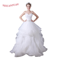 NIXUANYUAN 2018 New Custom Made Sweetheart White Organza A Line Wedding Dresses 2017 Pleat Vestidos De