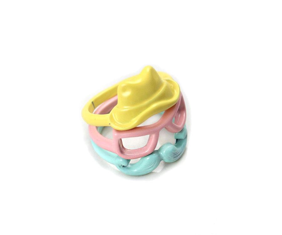 ᗕModa estilo lindo accesorios esmalte multicolor barba gafas ...