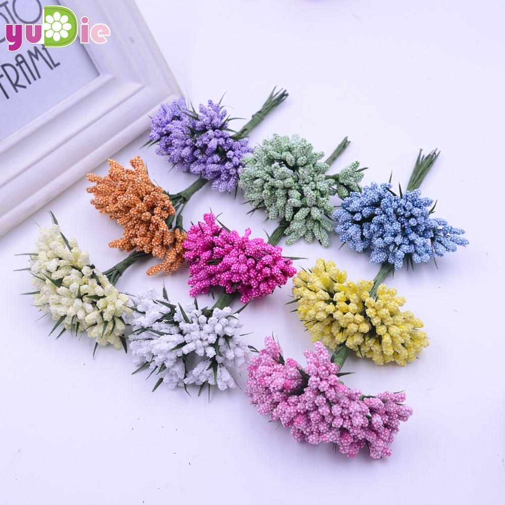 (12pcs/lot)Multicolor Scrapbooking Flower buds bouquet stamen wedding box decoration berry stame