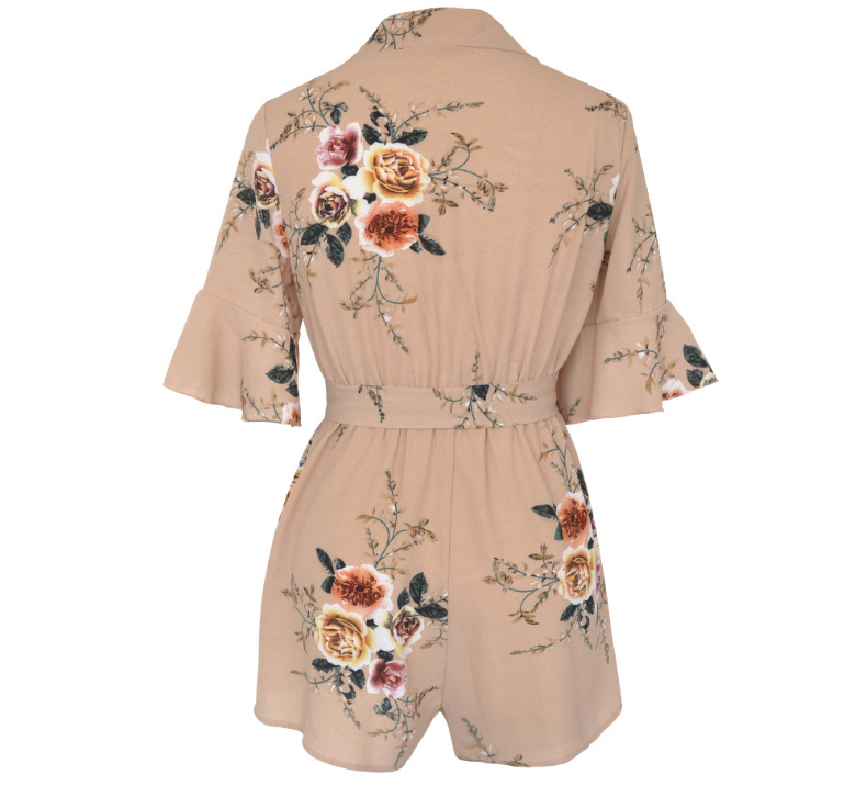 cf2c9381f1 Women s Summer Boho Ruffles Playsuit Short Sleeve V neck Floral Print  Sashes Wrap Jumpsuits Rompers Sexy Beachwear Sundress-in Rompers from  Women s Clothing ...