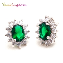 Yunkingdom Classic oval design stud earrings female luxury flower fashion jewelry
