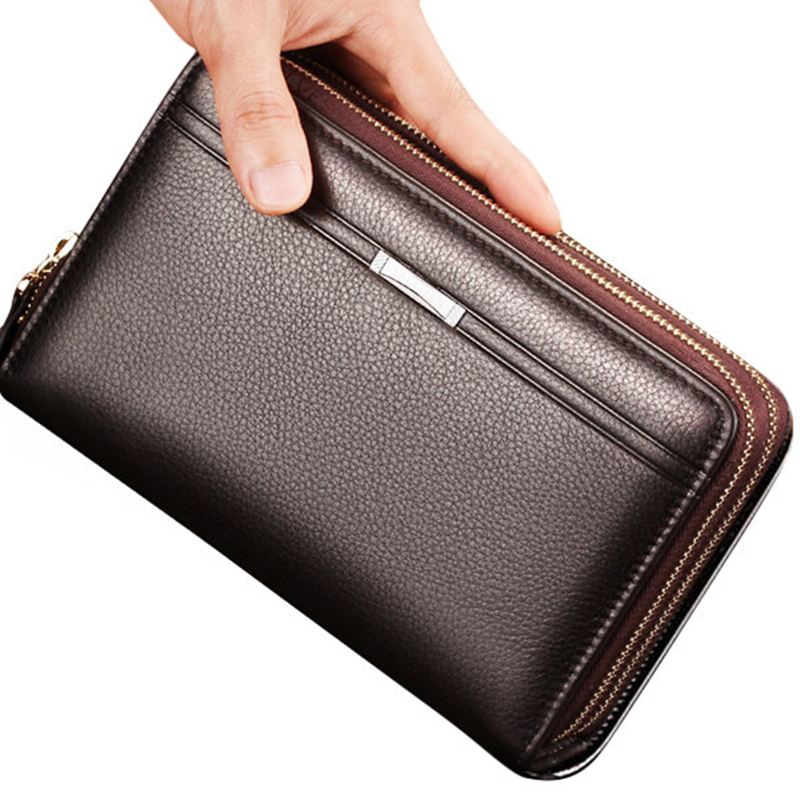Fashion Men Clutch Bag Wallet Waterproof Business Long Zipper Wallets Phone Holder Coin Bag Male Leather Purse feidikabolo brand zipper men wallets with phone bag pu leather clutch wallet large capacity casual long business men s wallets