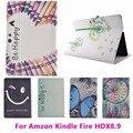 Цветы Флип Кожаный Tablet PC Case for Amazon Kindle fire HDX 8.9 дюймов Обложка Anti-Dust Shell Защитная пленка Мешок Жилья оболочка