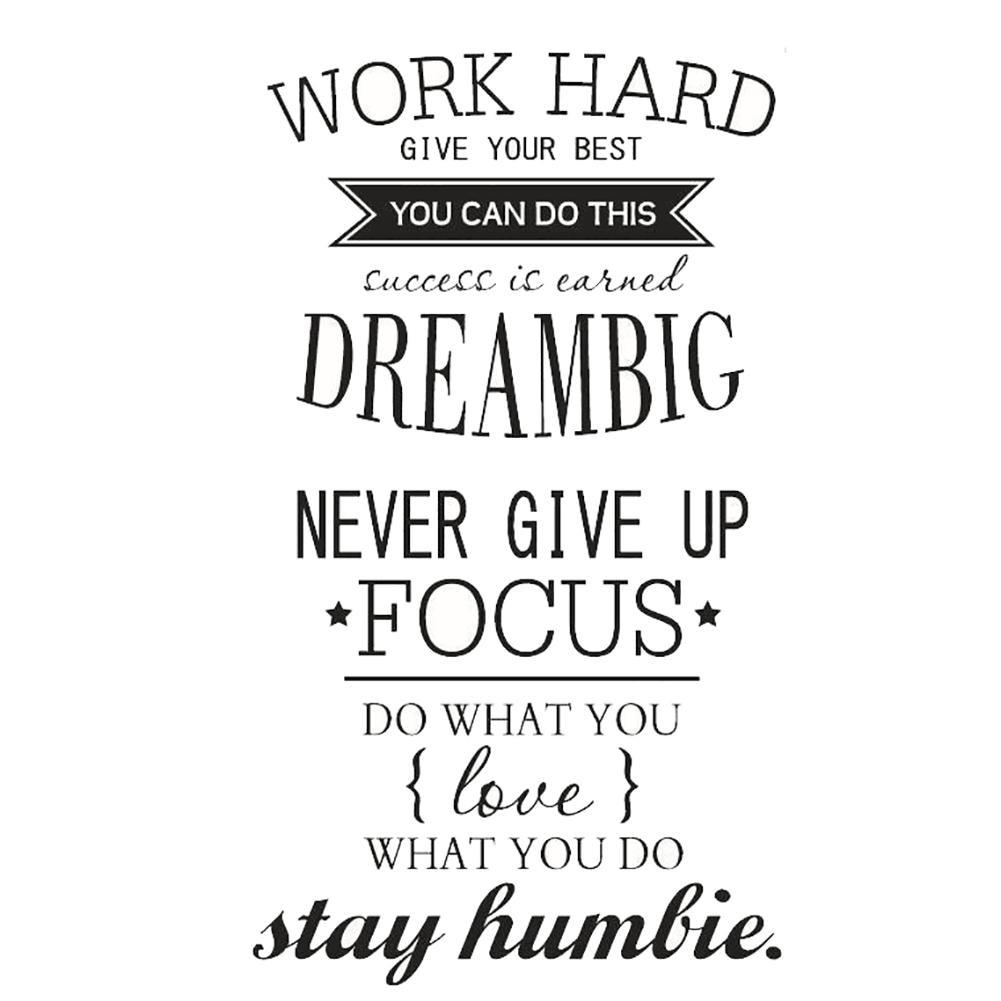 Fashion Work Hard Dream Big Inspirational Quote Wall Art Sticker Diy