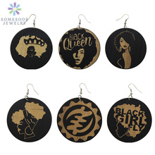 SOMESOOR Carved African Woman Wooden Dangle Earrings Black Girl Fly Afro Queen Natural Hair Ethnic Adinkra Melanin Jewelry 6Pair