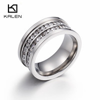 Kalen New Double Layer Rhinestone Wedding Rings For Women Stainless Steel Silver Finger Rings Femme Engagement Rings Jewelry