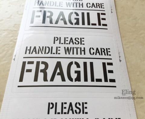 300 pcs lote 6x4cm por favor manusear com cuidado fragil envio etiqueta auto adesiva item