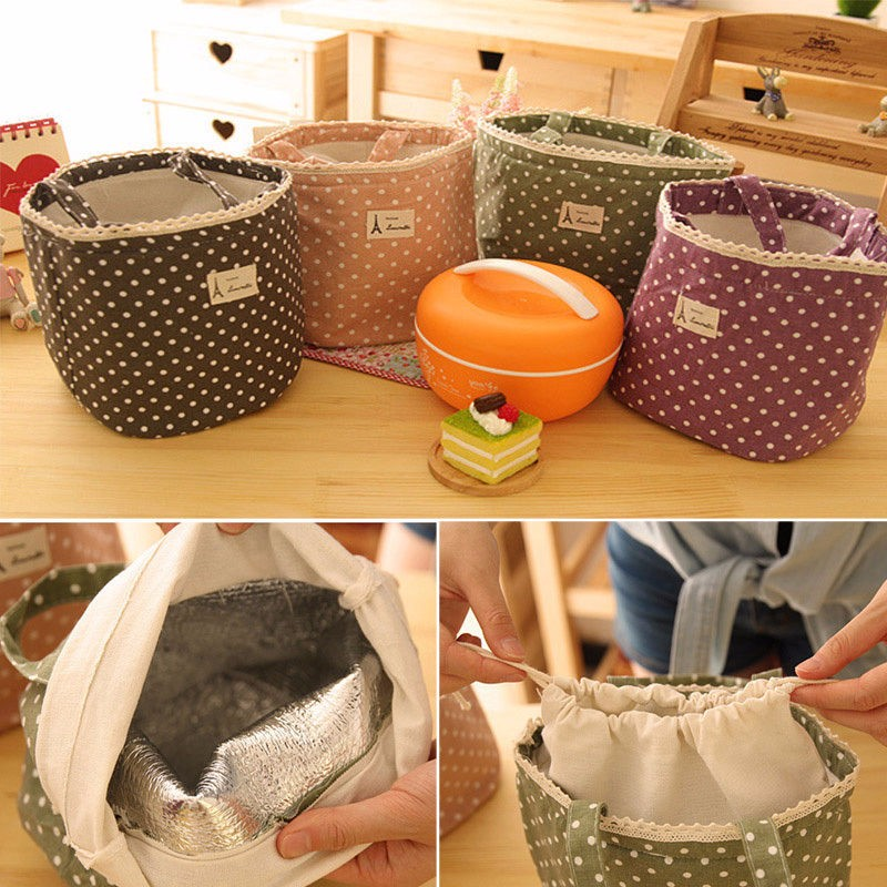 1pc Insulated Tinfoil Aluminum Cooler Picnic Lunch Box Bag Small Dot Thermal Dinner Travel Purse Zipper Waterproof Snack Food Storage Lunch Bag (6)