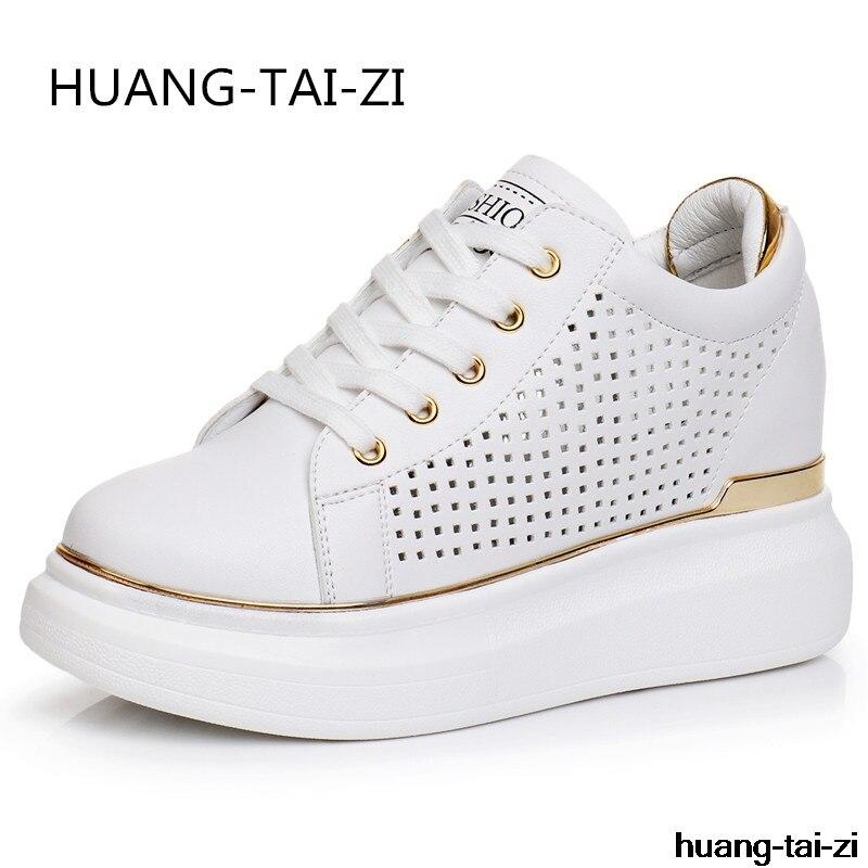 Nouveau été blanc baskets chaussures femme dames chaussures décontractées caché talons compensés femmes compensées plate-forme baskets chaussures pour les femmes