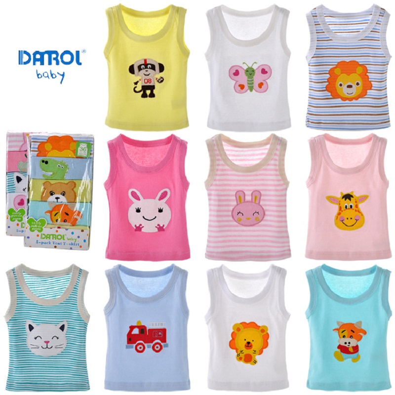 DANROL (5 pieces/lot) 100% cotton baby underwear Newborn Infants vest kids T-shirt children clothes boy girls tees
