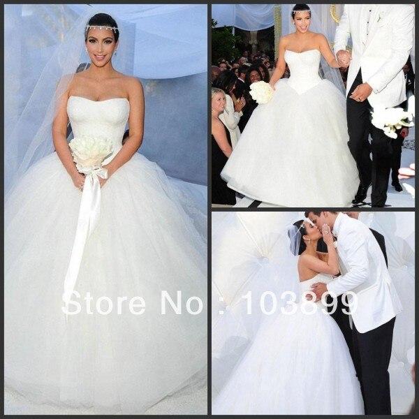 Maßgeschneiderte Kim Kardashian Hochzeitskleid Trägerlose Spitze ...