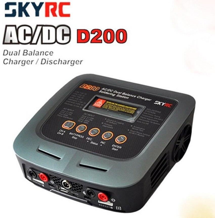 SkyRC D200 200 W * 2 AC/DC double Balance chargeur 20A Charge 5A décharge NiMH/LiPo batterie double canal chargeur avec fer à souder