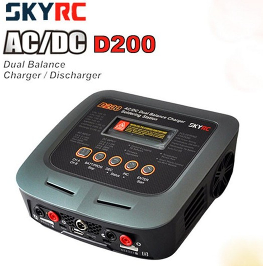 SkyRC D200 200W*2 AC/DC Dual Balance Charger 20A Charge 5A Discharge NiMH/LiPo Battery Twin-Channel Charger with Soldering Iron skyrc d100 2 100w ac dc dual balance charger 10a charge 5a discharge nimh lipo battery charger twin channel charge