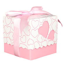 30pcs Love Heart Small Laser Cut Gift Candy Boxes Wedding Party Favor Candy Bags With Ribbon Decor 5*5*5cm(China)