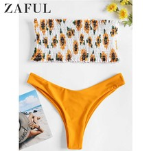 ZAFUL Bandeau Sunflower Smocked Thong Shirred Women Set Summer Beach Two Piece Sets 2019 New Fashions Womens Suit Clothing