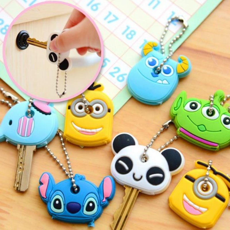 Cute Anime Cartoon Silicone Keychain For Women Man Key Cover Key Caps Key Ring Key Holder Kids Gift(China)