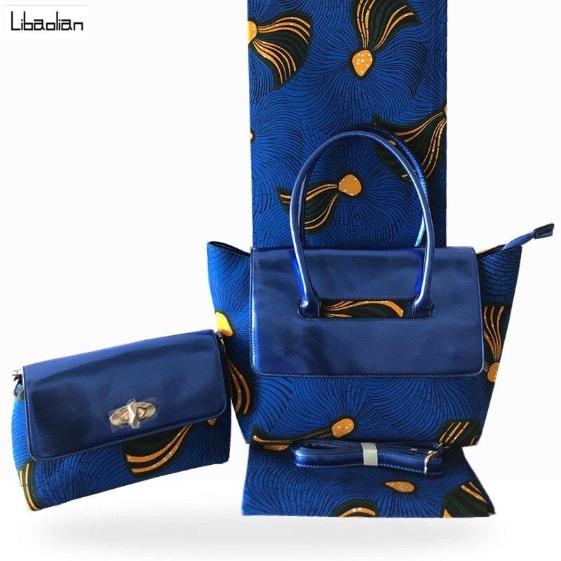 Top qualité mode sac de cire Match 6 Yards néerlandais africain cire tissu, africain femme bleu cire sac à main ensemble pour église fête F93-9