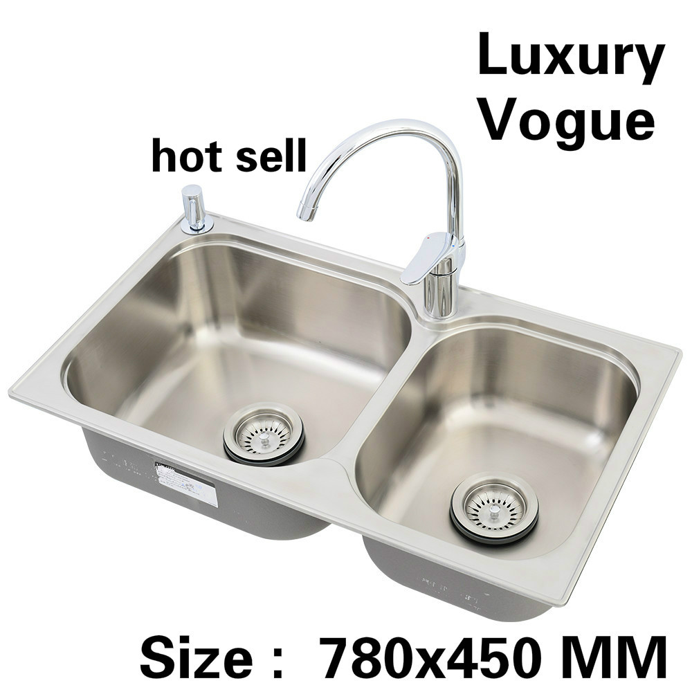 Free Shipping Standard Fashion Kitchen Sink Food Grade 304 Stainless Steel Double Trough Hot Sell 780x450 MM