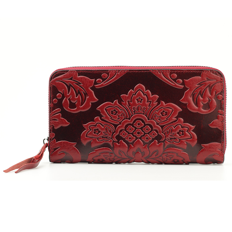 Image 2 - Premium 100% Genuine Leather Embossing Flower Women Wallets Large Capacity  Female Purses 2020 Ladies Multi function Walletswomen walletswallet largewomens wallets large -